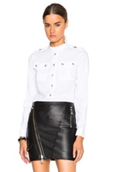 Versus Two Pocket Button Down Blouse In White