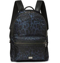 Dolce And Gabbana Leopard Print Shell Backpack Blue