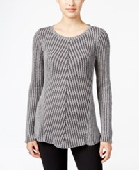 Styleandco. Style Co. Ribbed Crew Neck Sweater Only At Macy's Bold Grey Heather Black