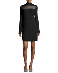 Calvin Klein Long Sleeve Sheer Paneled Dress Black