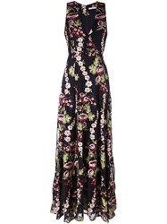 Alice Olivia Floral Embroidered Gown Black