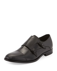Kenneth Cole Multi T Rack Double Monk Leather Loafer Black