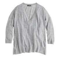 J.Crew Featherweight Merino Wool V Neck Sweater Hthr Graphite