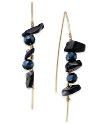 Macy's Inspired Life Multi Stone Wrapped Wire Threader Earrings Black