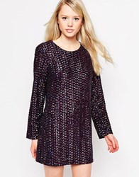 Jovonna Patrice Shift Dress In Sequins With Open Back Multi