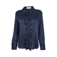 The Bee's Sneeze Ruffle Placket Shirt Charcoal Grey