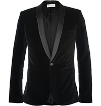 Saint Laurent Black Slim Fit Velvet Tuxedo Jacket