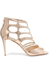 Jimmy Choo Ren Cutout Mirrored Leather Sandals Gold