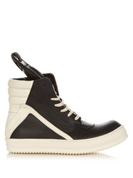 Rick Owens Geobasket Leather High Top Trainers Black Multi