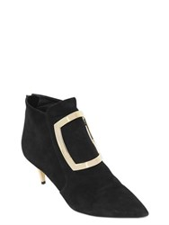 Balmain 55Mm Marie Buckle Suede Ankle Boots