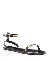 Rachel Zoe Alicia Metal Strip Jelly Sandals Black