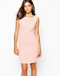 Warehouse Pencil Dress With Contrast Beaded Trim Palepink