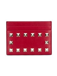 Valentino Rockstud Leather Card Holder Red