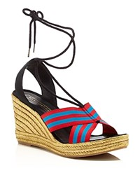 Marc Jacobs Dani Ankle Tie Espadrille Wedges Blue Red