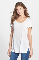 Women's Halogen Side Slit Long Scoop Neck Tee
