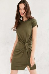 Silence And Noise Silence Noise Side Knot T Shirt Dress Olive