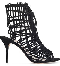 Sophia Webster Delphine Caged Suede Booties Black