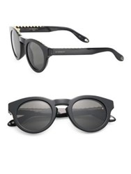 Givenchy 48Mm Round Acetate Mirrored Sunglasses Black