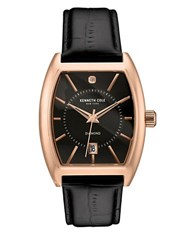 Kenneth Cole Hamilton Rose Goldtone Stainless Steel And Leather Barrel Strap Watch 10030819