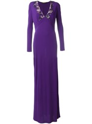 Roberto Cavalli Sequin Embellished Gown Pink And Purple