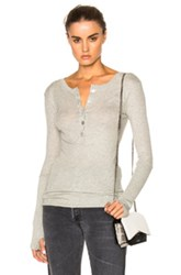 Enza Costa Cashmere Henley Tee In Gray