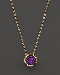 Bloomingdale's Amethyst Bezel Set Pendant Necklace In 14K Yellow Gold 17 Purple Gold