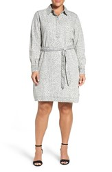 Foxcroft Plus Size Women's Print Belted Shirtdress