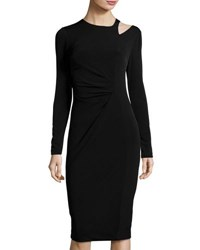 Neiman Marcus Long Sleeve Crewneck Ruched Dress Black