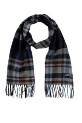 Amicale Cashmere Plaid Scarf Blue