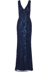 Marchesa Notte Embellished Tulle Gown Midnight Blue