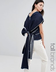 Waven Tall Sanna Kimono Sleeve Top With Exaggertaed Wrap Back Indigo Blue