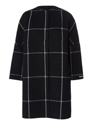 Marella Serafin Wool Blend Check Coat Black