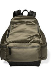 Brunello Cucinelli Felt Paneled Satin Backpack Army Green