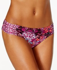 Kenneth Cole Reaction Printed Ruched Tab Bikini Bottom Women's Swimsuit