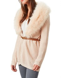 Miss Selfridge Belted Faux Fur Collared Cardigan