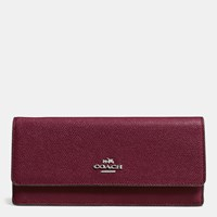 Coach Soft Wallet In Embossed Textured Leather Silver Burgundy