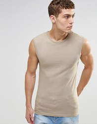 Asos Extreme Muscle Sleeveless T Shirt In Beige Biege