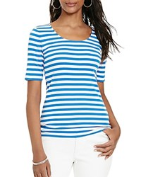 Lauren Ralph Lauren Petites Striped Scoop Neck Tee Blue White