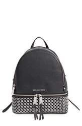Michael Michael Kors 'Rhea Zip Grommet' Leather Backpack Black Black Silver