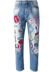 Gaelle Bonheur Cropped Patched Jeans