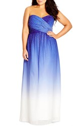Plus Size Women's City Chic 'Enchanted' Embellished Strapless Ombre Maxi Dress