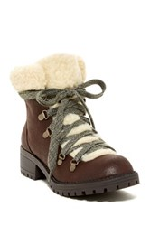 Madden Girl Bunt Faux Fur Cuff Lace Up Boot Brown