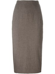 Rick Owens Midi Pencil Skirt Brown