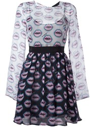 Marco Bologna 'Lips' Motif Flared Dress Black