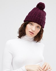 Johnstons Chunky Crochet Hat With Pom Pom Beetroot Purple