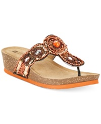 White Mountain Blast Beaded Wedge Thongs Women's Shoes Orange Multi