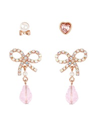 Betsey Johnson Pave Bow And Crystal Heart Earring Set Pink