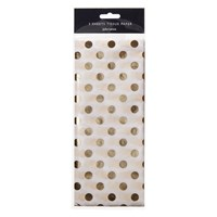 John Lewis Ostravia Spot Tissue Paper Pack Of 3 Gold