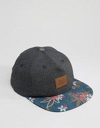 Billabong Snapback In Black With Floral Peak Black