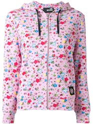 Love Moschino Floral Print Hoodie Pink And Purple